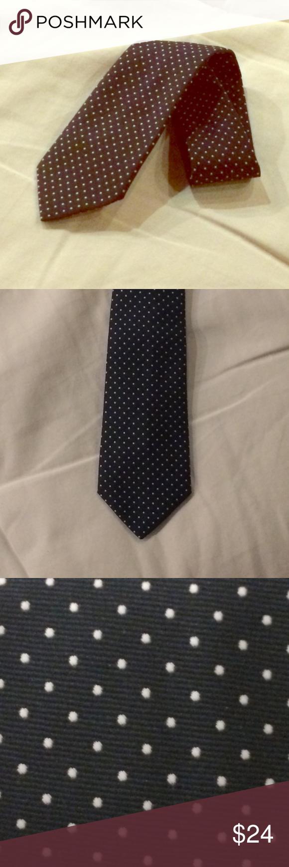 5b68a8f60845 Dark Blue Tie w/ Dots Beau Brummell Tie White dots over dark blue Classic  width, not slim Beau Brummell Accessories Ties