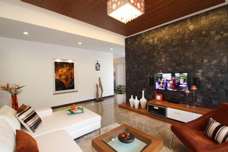 Living Room Design Contemporary Pleasing Living Room With Stone Cladding  Interior Designers Bangalore Inspiration