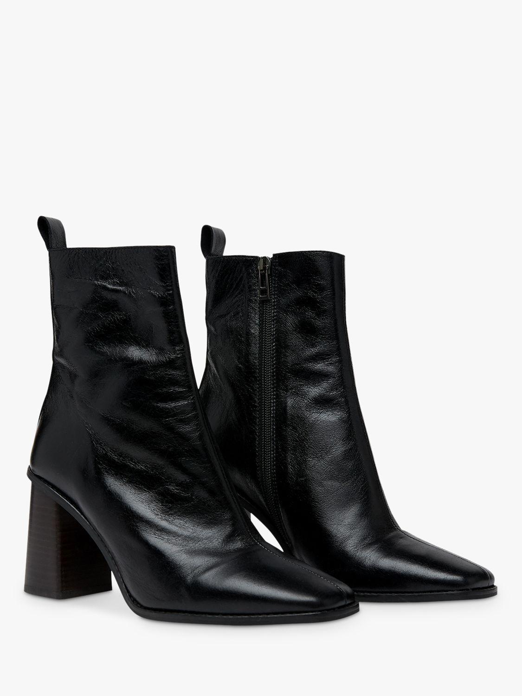 Leather Grange High Heel Ankle Boots Black