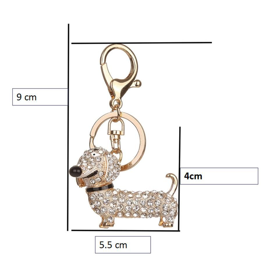 9eaa6f628b0 Rhinestone sausage dog dachshund diamanti key chain / bag charm / bag  pendant / accessory / gift in black, gold or silver