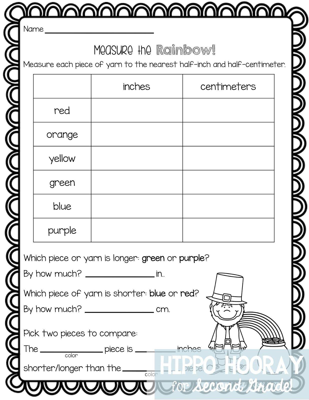 St Patrick S Day Math Freebie Measurement Worksheets 2nd Grade Math 2nd Grade Math Worksheets [ 1600 x 1236 Pixel ]