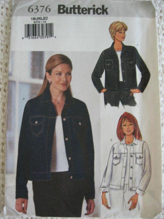 Butterick Jean Jacket Plus Size Pattern 6376 Google Search