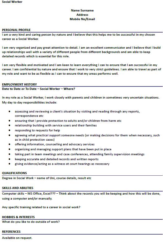 Cv Template Social Work Job Resume Samples Job Resume Resume Examples