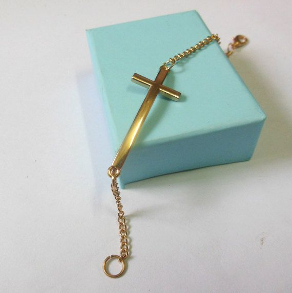 Sideways Cross bracelet  Cross bracelet in by BetsyLoveBracelet, $1.99