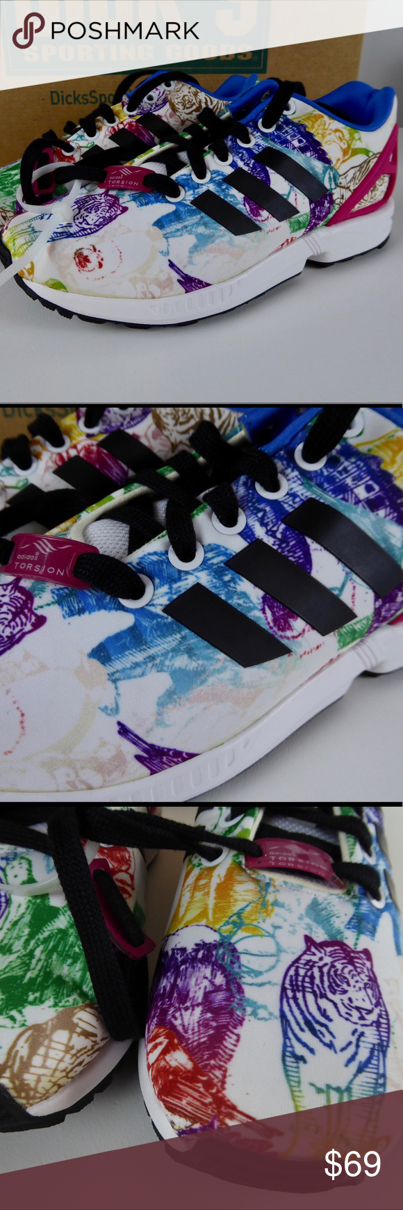 6bf5c89965c Adidas ZX Flux Artistic Sneakers Tiger Torsion NIB Adidas Sneakers  🐅Graffiti style animal print 🐅