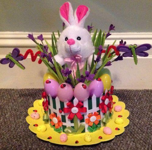 Bunny garden handmade easter bonnet easter parade hat for Easter bonnets templates