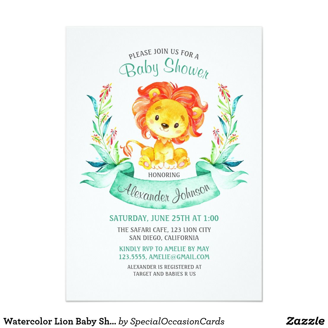 Watercolor Lion Baby Shower Invitation | Lion baby shower and Shower ...