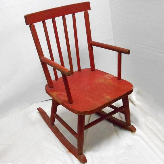 ON SALE Vintage Antique Childu0027s Kids RED Wood Rocking Chair Play Rocker  Porch Furniture Toy Mid Century Modern Wooden