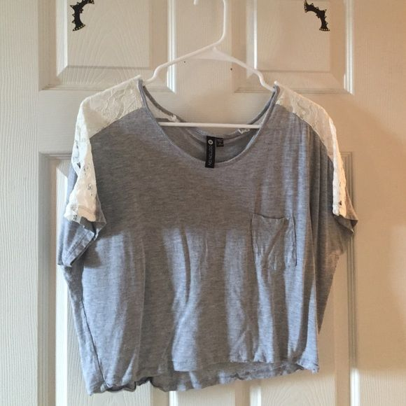 Gray + Lace Short Sleeve Top Like-new Cotton On gray top. Only worn one time, it doesn't fit anymore :( Perfect with cropped jeans! (Size medium but runs small) Cotton On Tops Blouses
