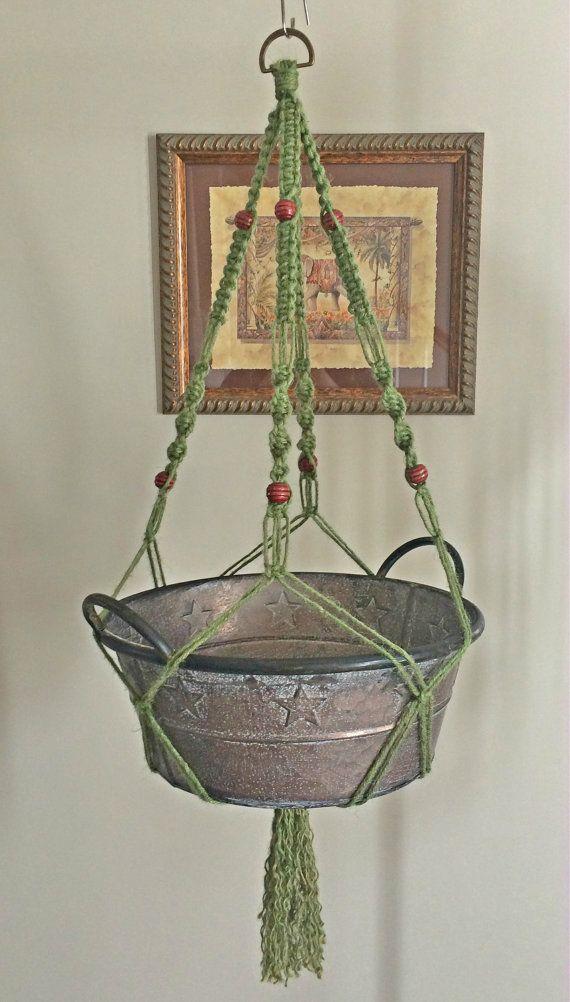 macrame plant hanger or holder with wooden beads. Black Bedroom Furniture Sets. Home Design Ideas
