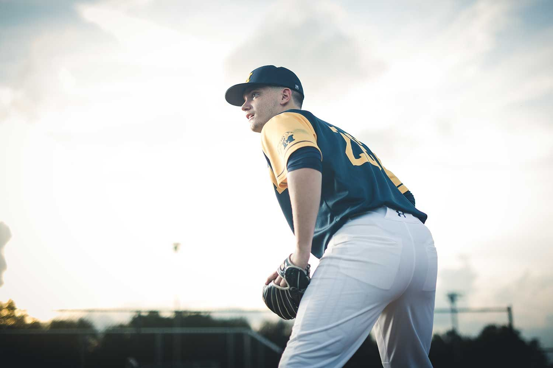 Baseball senior portrait of a third baseman and pitcher
