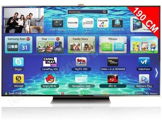 t l viseur led 190 cm full hd 3d samsung ue75es9000 samsung gamme smart tv samsung smart. Black Bedroom Furniture Sets. Home Design Ideas