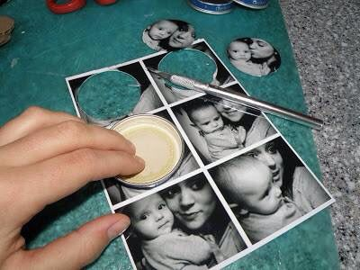 Diy idea for your photos. jar lid fridge magnets. So cool. (Pic 3)