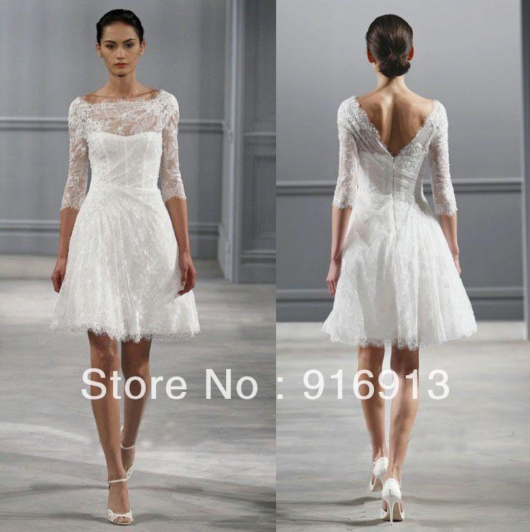 short wedding dresses 3/4 sleeves | neck 3 4 sleeves monique ...
