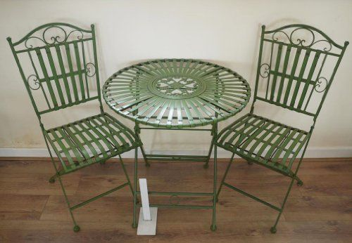 French Ornate Antique Green Wrought Iron Metal Garden Tab