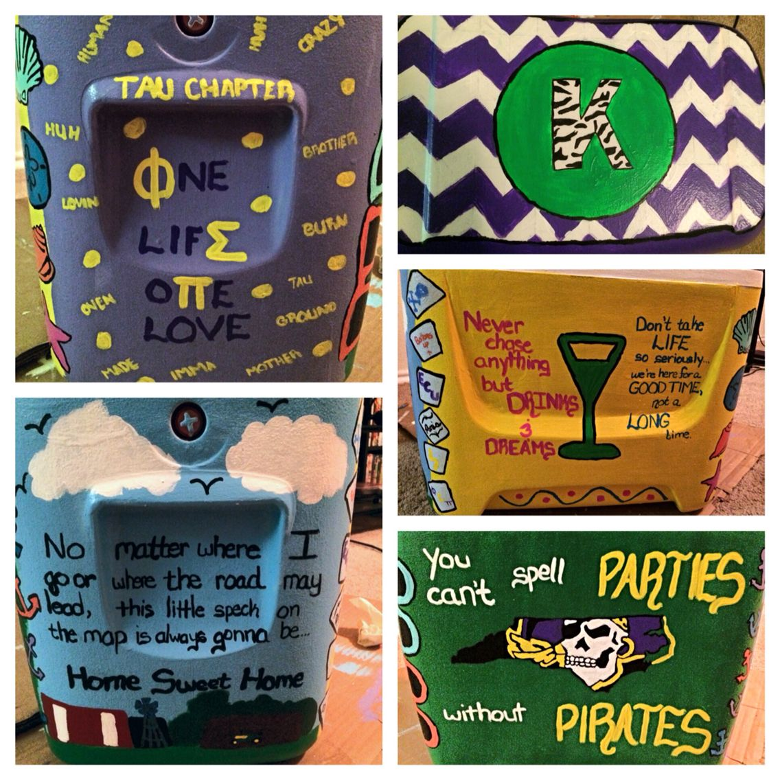Cooler with chevron lid, small town quote, ECU side, phi sigma Pi side and drinks side