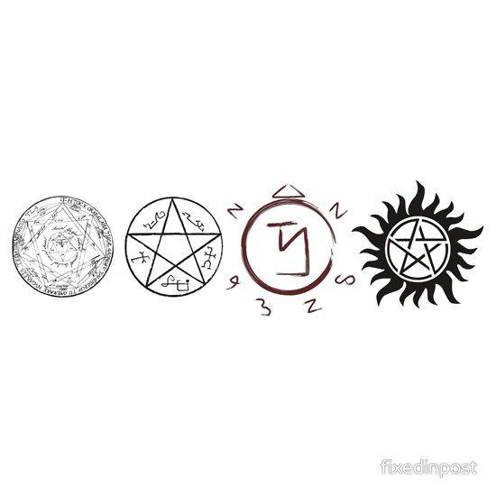 Supernatural Protection Dark Symbols Sticker By Fixedinpost