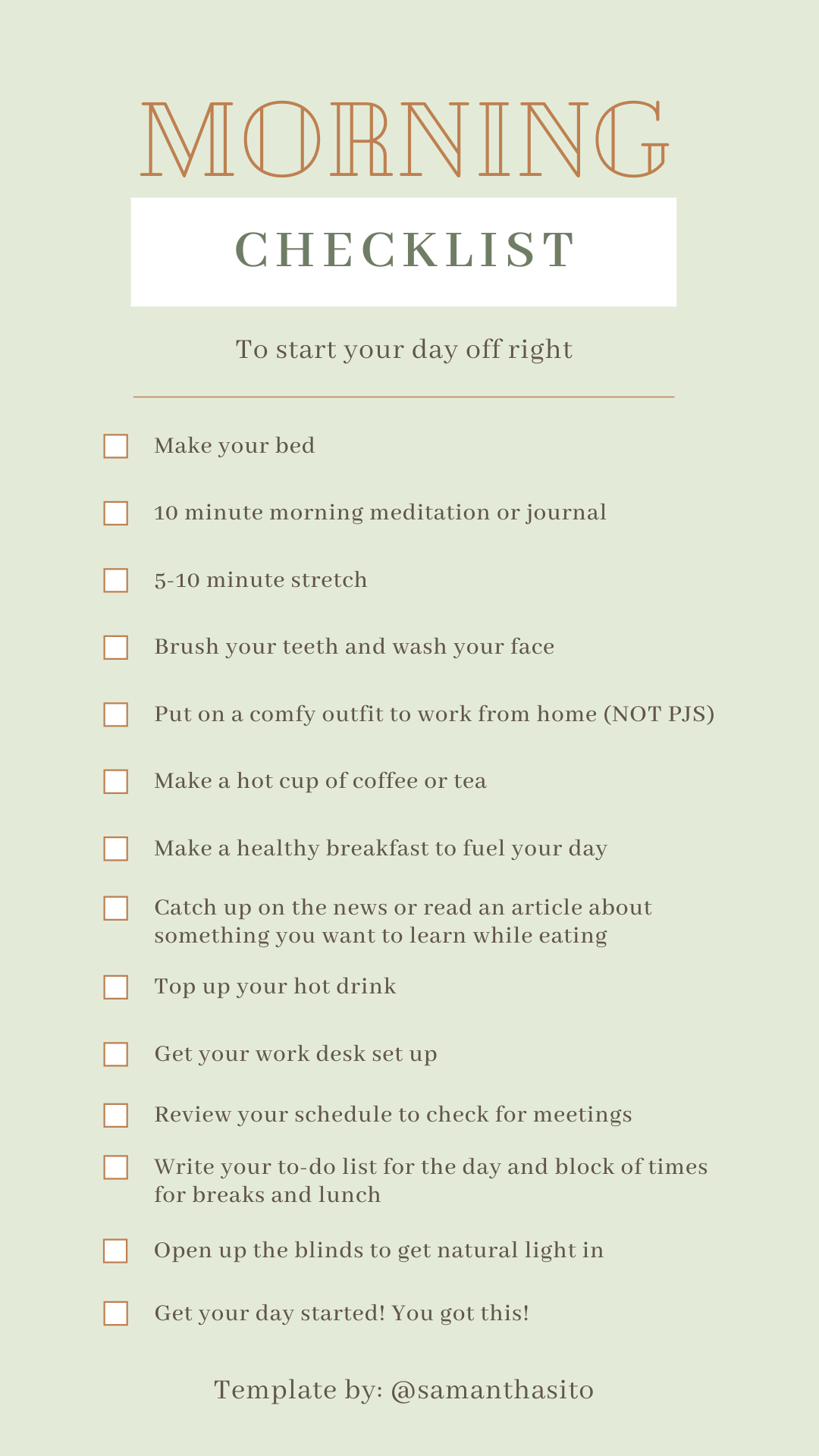 Morning Checklist for a Productive Day A checklist