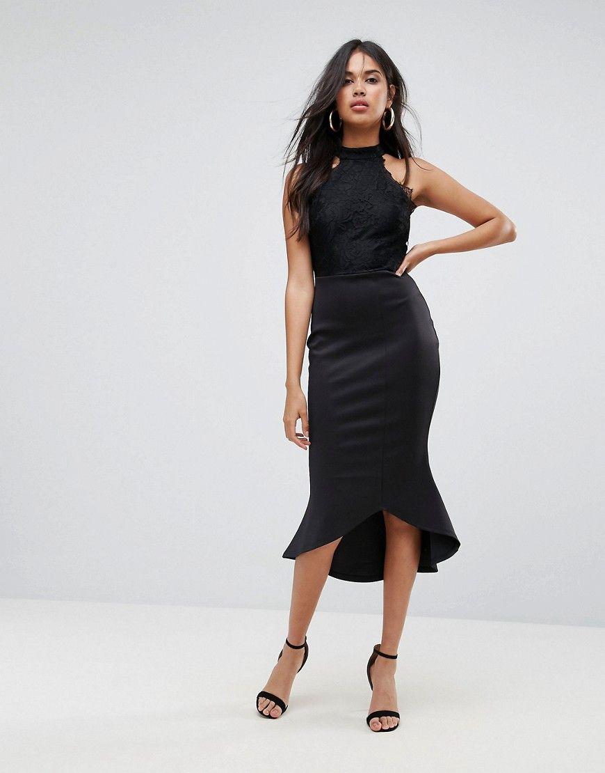 AX Paris - Schößchen-Kleid aus Neopren mit Ringerrücken und Spitze ...
