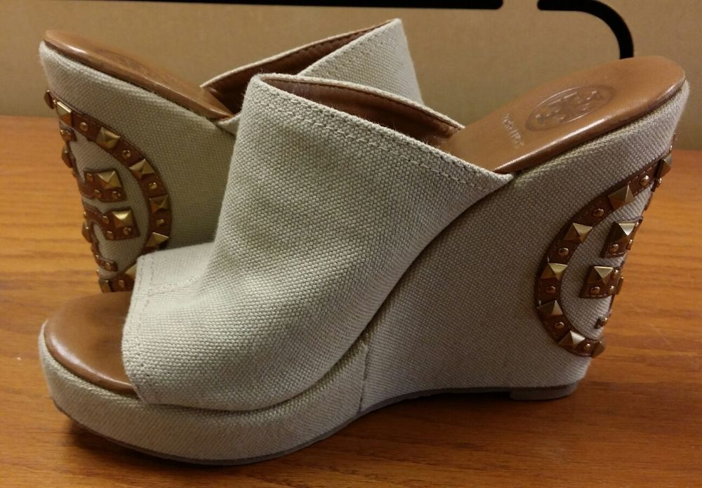 cfce6d9315a Tory Burch Women s Natural Meredith Canvas Wedge Slides Size 8M Brazil Quik  Ship  ToryBurch  PlatformsWedges  Clubwear