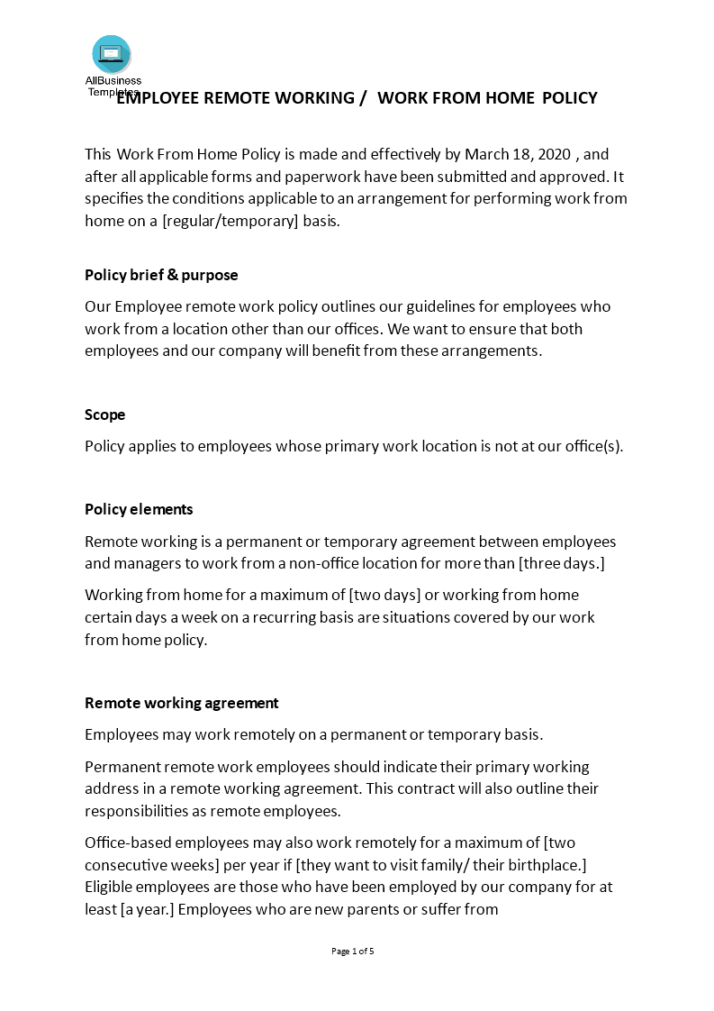 How To Create Work From Home Policy With Your Employees Download This Permanent Or Temporary Work From Home Policy Policy Template Working From Home Templates