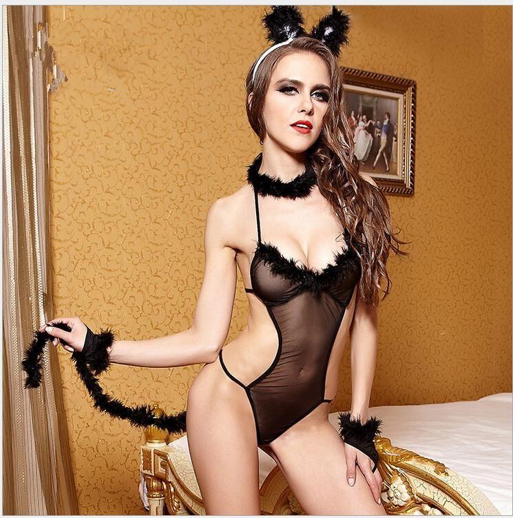 f7d22d411bd Halloween Bunny girl transparent gauze Cosplay Costumes Sexy Playboy ...