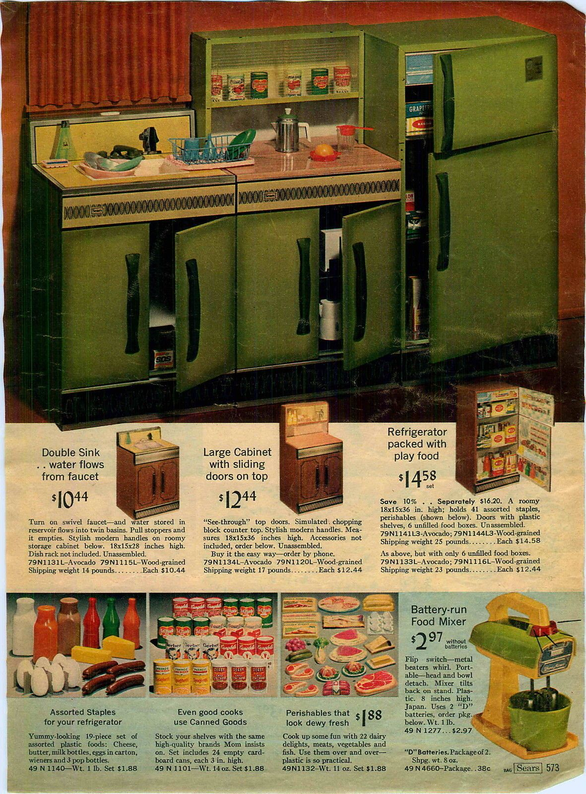 1968 AD 3 Page Avacado Toy Play Kitchen All Steel Kenmore