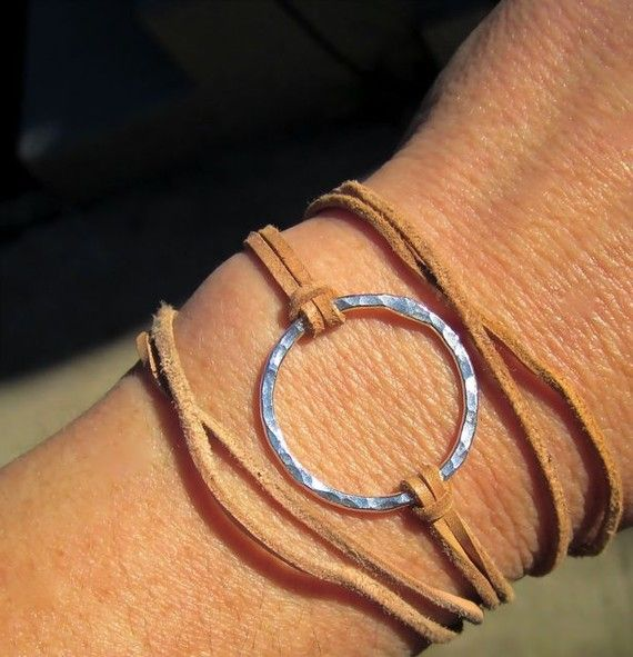 Leather wrap bracelet NUDE BEACH Sterling Silver and by tamisloan, $33.00