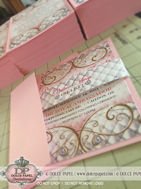 Royal Princess Fairytale Wedding Invitations Shimmery Pink And Gold