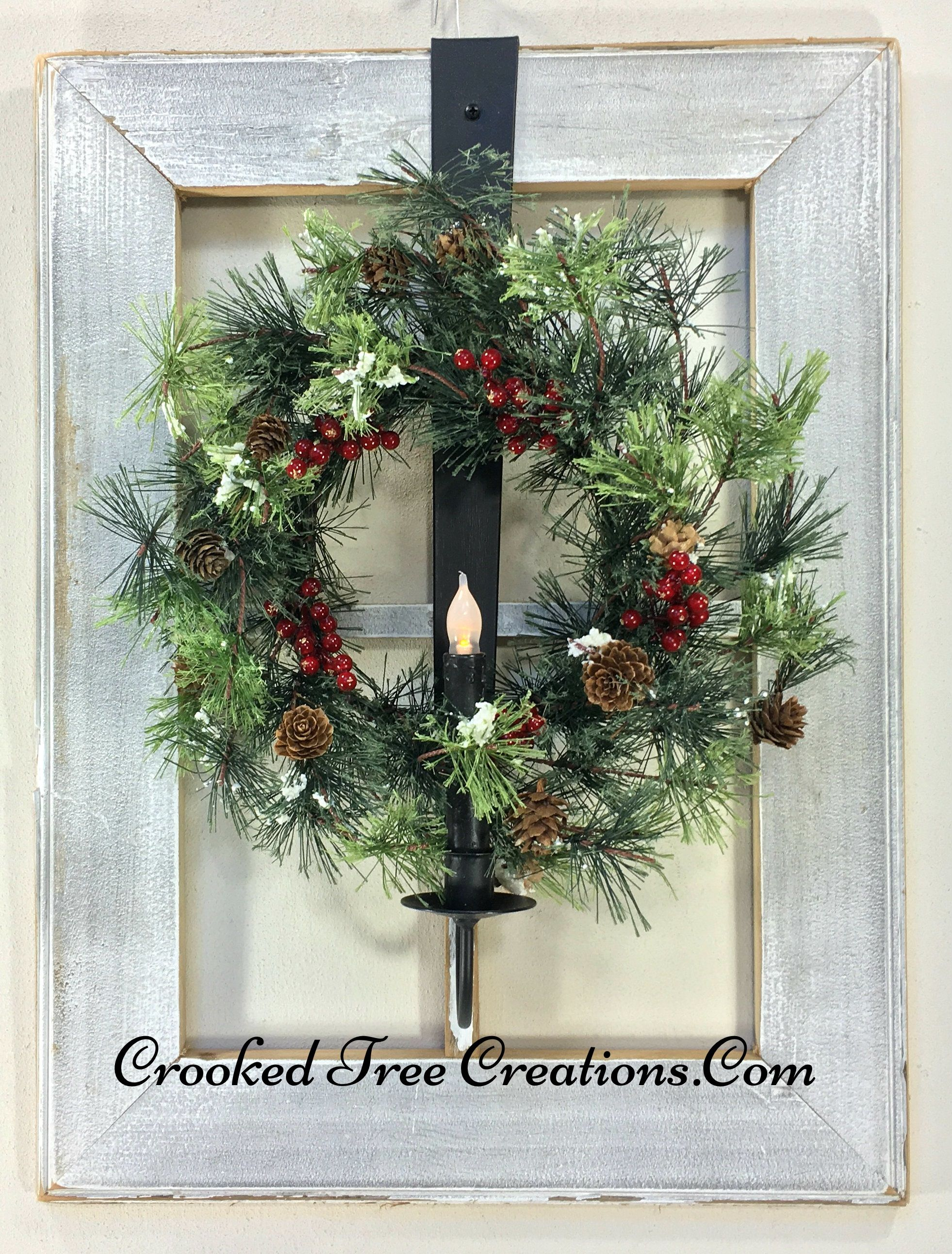 Window Frame With Wreath And Candle