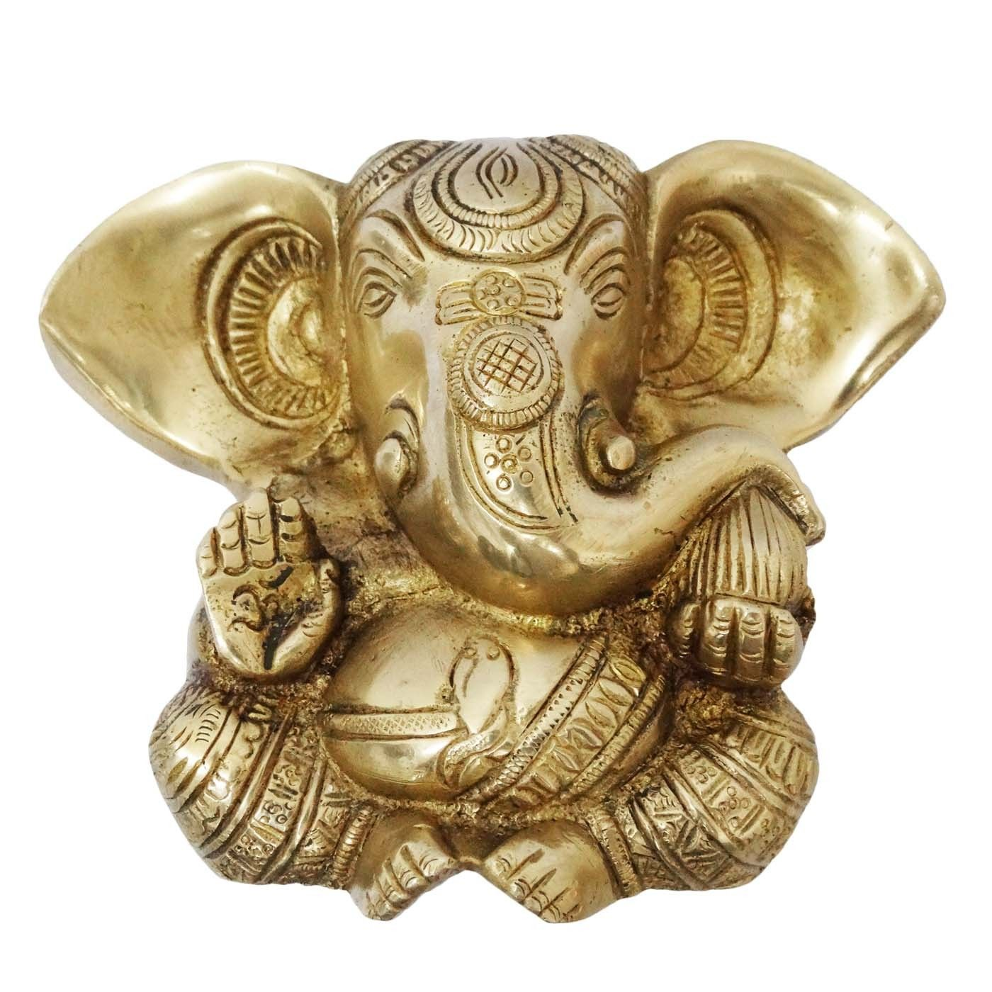 Brass metal statue / sculpture of Lord Ganesha in golden color with ...
