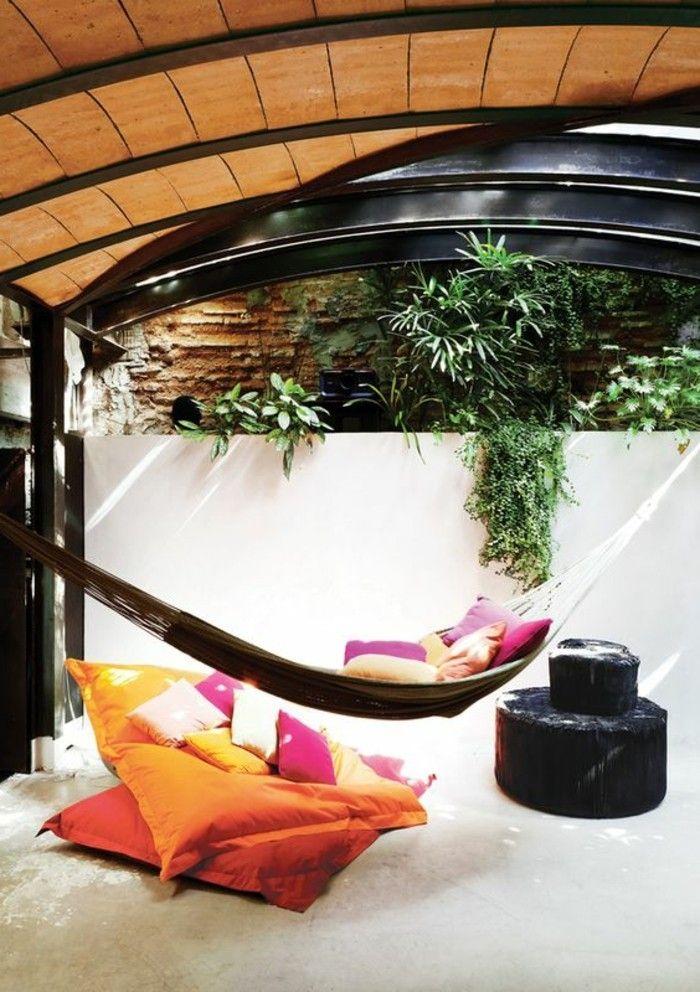 Hängematte für Balkon garten oder terrasse und viele kissen - designer hangematte metall gestell