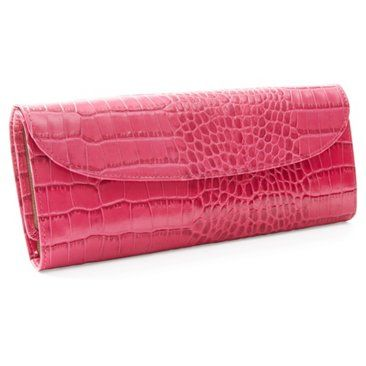 Check out this item at One Kings Lane! Embossed Leather Jewelry Roll, Pink