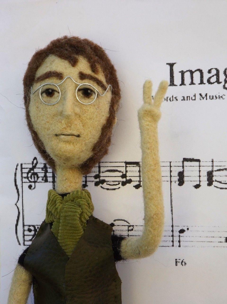 john lennon doll, custom order. #johnlennon #thebeatles #needlefelt #uniquegift #ooak #artdoll
