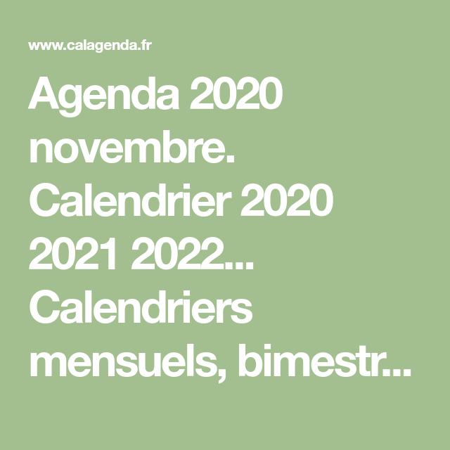 Agenda 2020 novembre. Calendrier 2020 2021 2022 Calendriers
