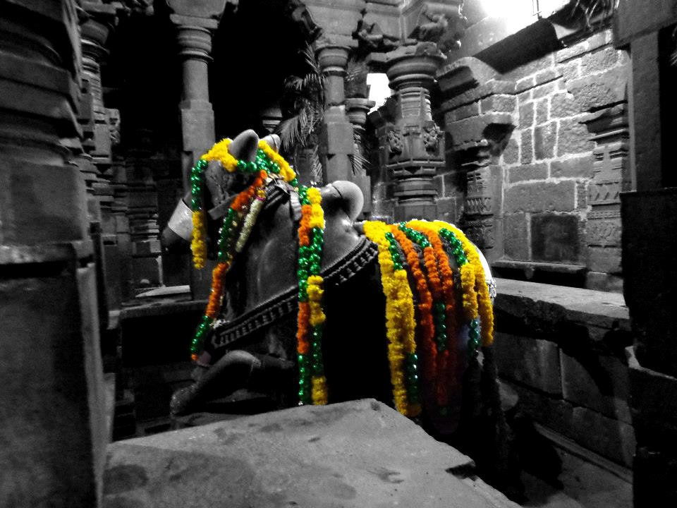 Black And White With Color Photography Indian Temple