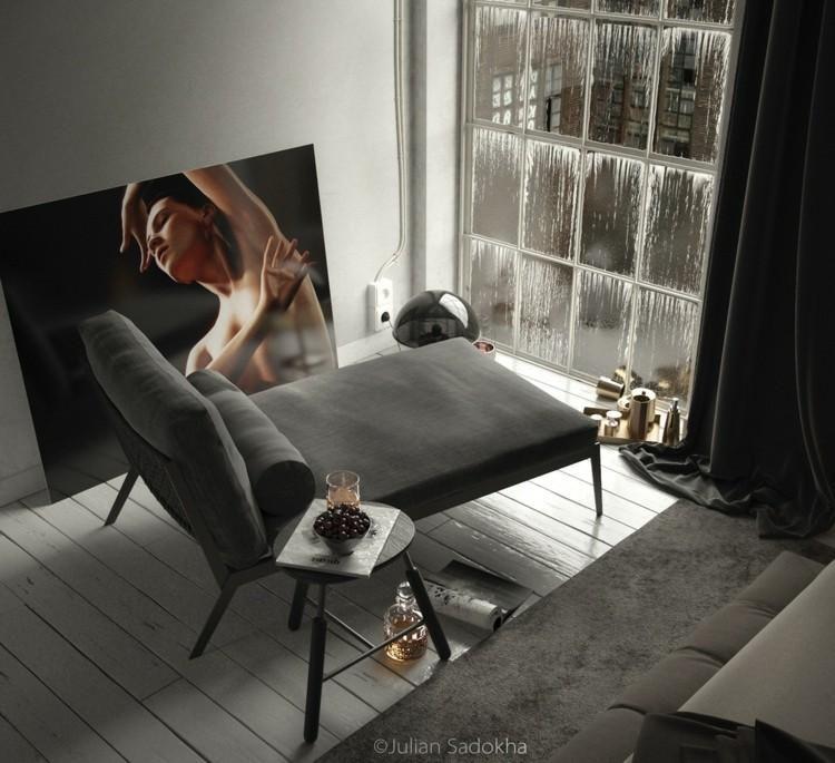 Cooles Interieur mit Details in Grau von Julian Sadokha - wohnzimmer ideen grau