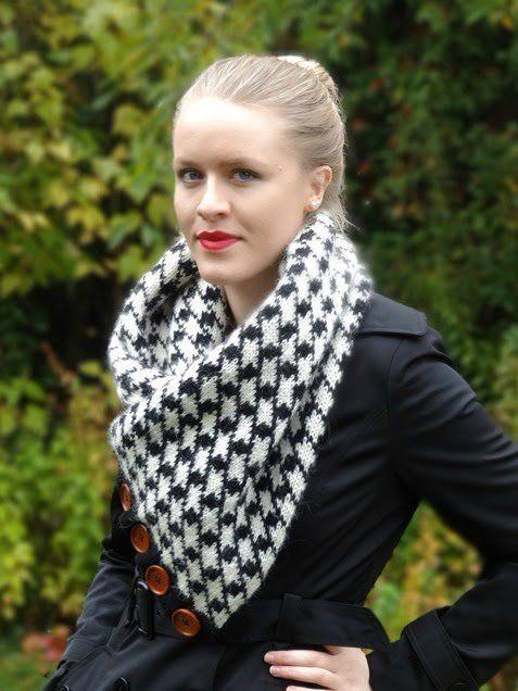 Anleitung Knöpf Loop Mit Hahnentritt Norwegermuster Stricken