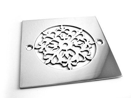 Designer Drains Brushed/ Satin Nickel Classic Motif 7 Square Decorative  Shower Drain Cover Grate