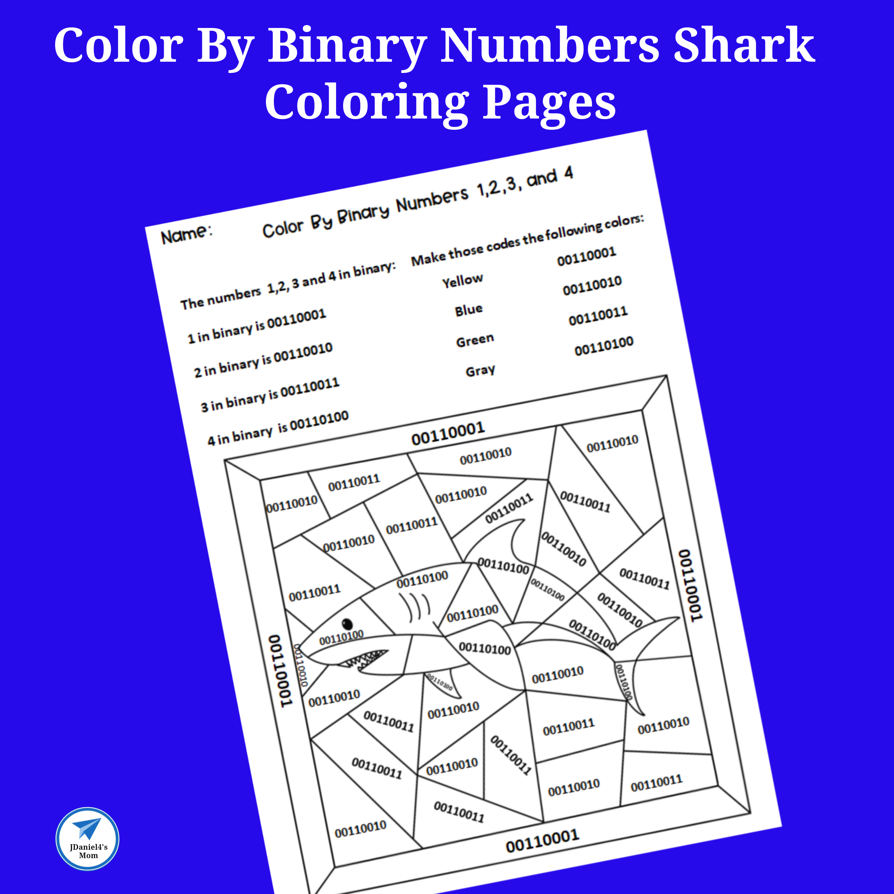 Color By Binary Numbers Shark Coloring Pages