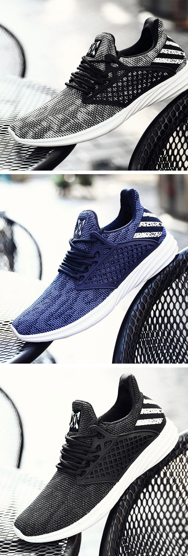 US$28.15 Men Knitted Fabric Breathable Lace Up Light Running Sneakers#shoes #sty…