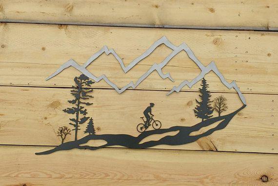 Metal Wall Art Mountain Bike Trees Mountain Bike Mtb 30 Frosted Mountain Bike Art Mountain Bike Tattoo Art