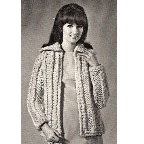 Large Collar Mock Cable Knit Jacket Pdf Pattern Big Needles The