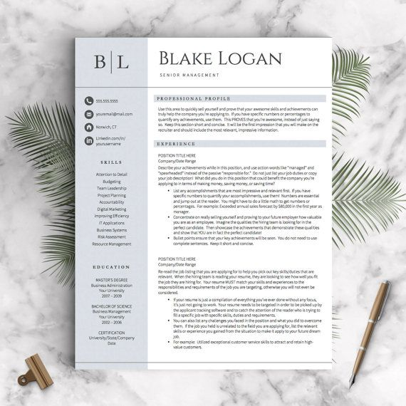 Professional Resume Template for Word  Pages (1, 2 and 3 Page