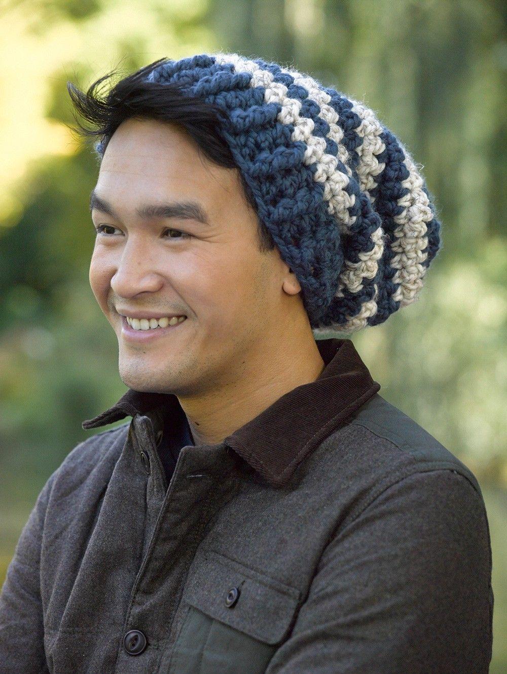 Slouchy Stripe Hat Pattern (Crochet) | Crochet | Pinterest