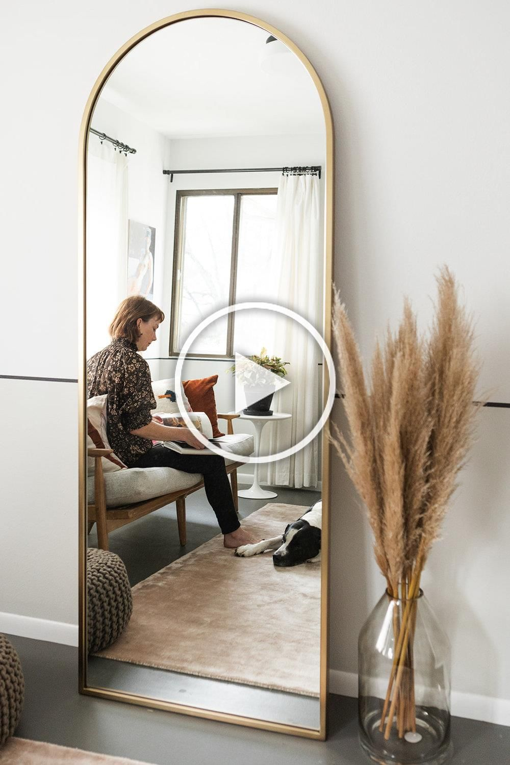The Ranchalow Dressing Room Reveal Metal Framed Arched Floor Mirror From West Elm Living Room Mirrors Aesthetic Room Decor Home Decor