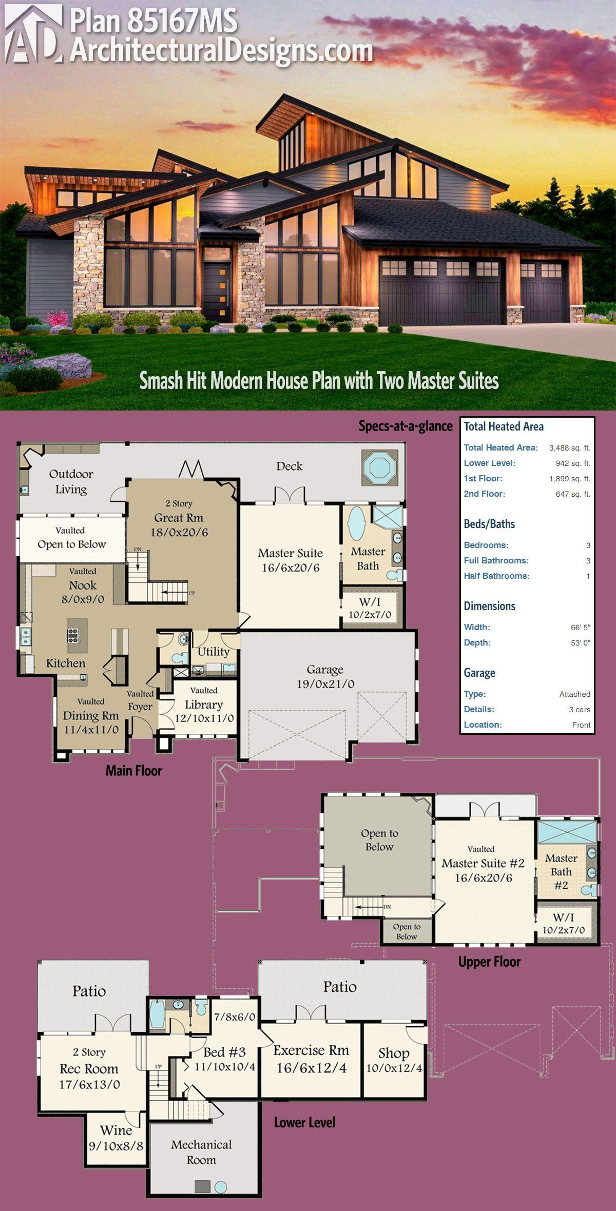 Houseplans with 2 master bedrooms  Plan MS Smash Hit Modern House Plan with Two Master Suites in