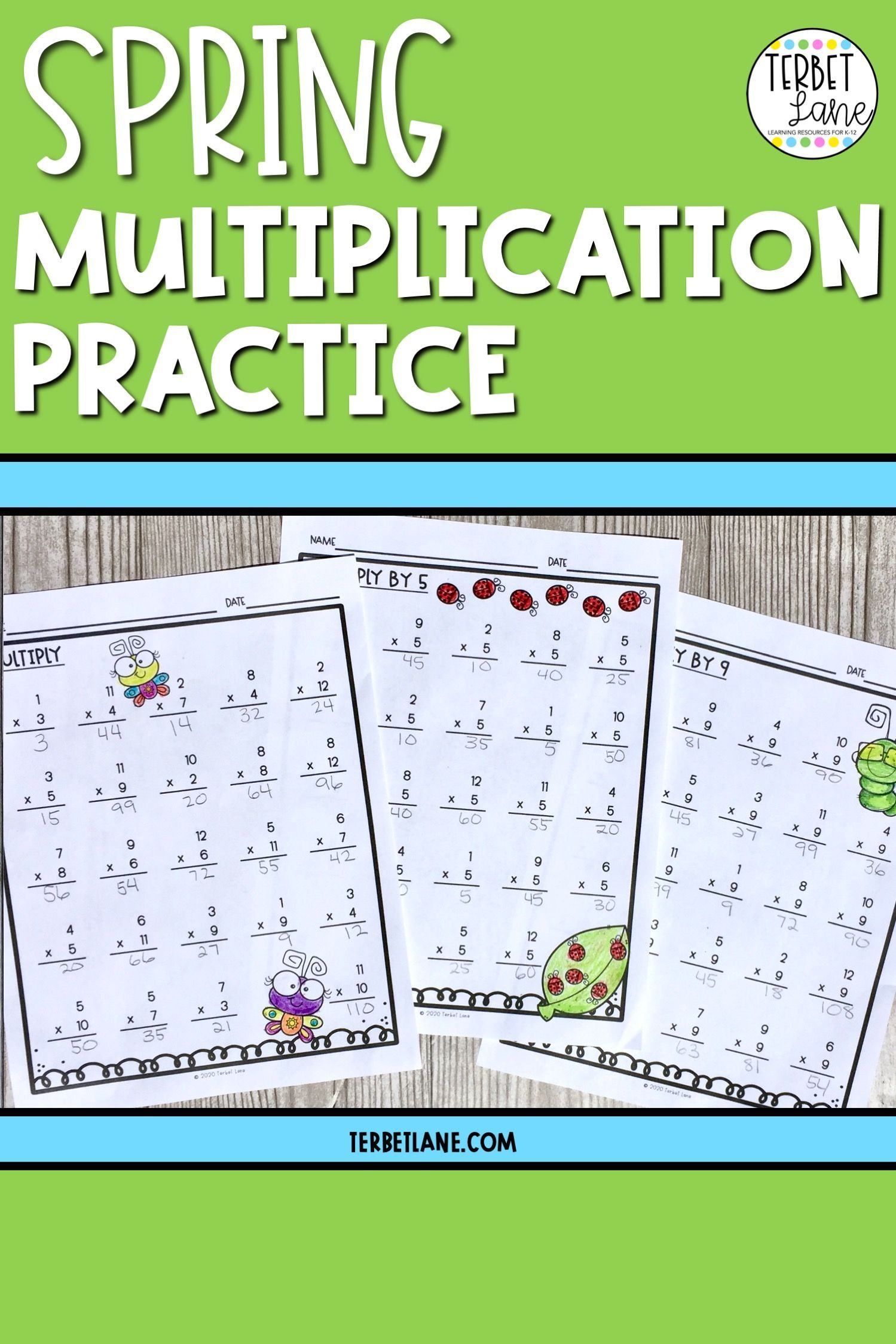 Spring Math Multiplication Worksheets Distance Learning