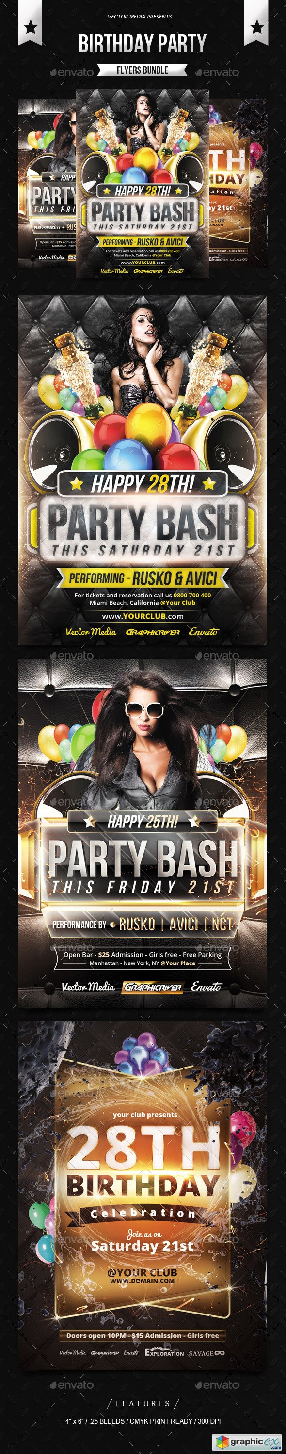Birthday Party  Flyers Bundle  Graphic Design