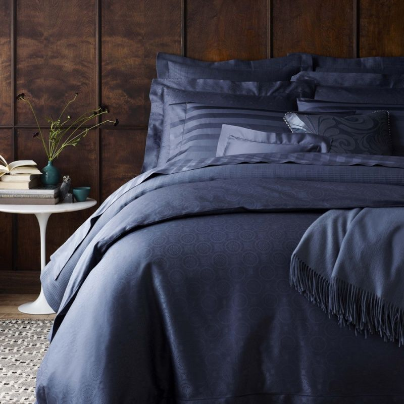 Rosette Medallion Pattern Luxury Duvet Covers And Shams In Indigo Blue Sferra Sarto Http